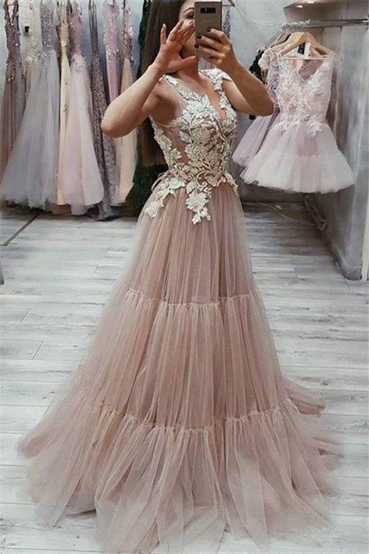 New Arrival Sleeveless Appliques Evening Dresses | Pink V-Neck Tulle Prom Dresses Cheap