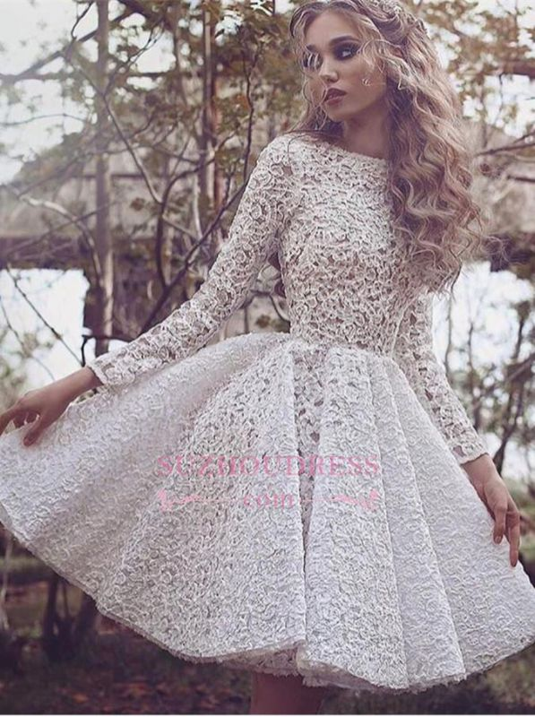 Unique Long Sleeves Full Lace Evening Gowns Short Homecoming Dress 2020 BA3645
