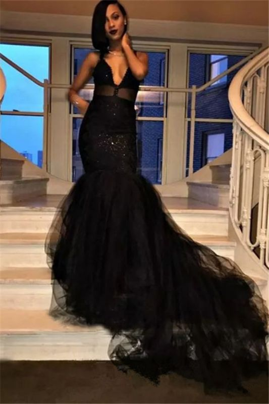 Sexy V-Neck Mermaid Black Prom Dresses 2020 Tulle Sequins Evening Gowns SK0126