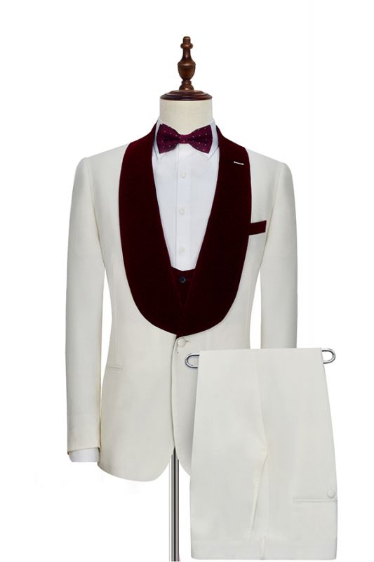 Burgundy Velvet White Wedding Suits for Groom | Wool One Button Men Suits Tuxedos with Vest (Blazer Pants Vest)
