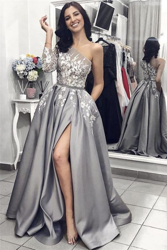 One Sleeve Lace Appliques Sexy Prom Dresses Cheap 2020 | Side Slit New Arrival Formal Evening Dress
