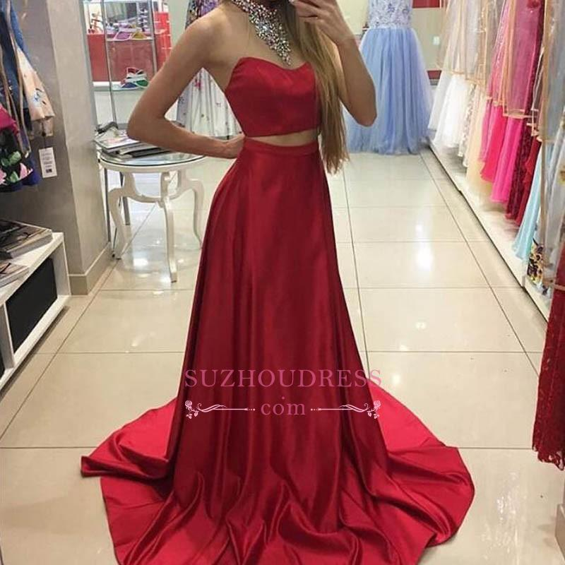 Long Sleeveless Red Two Piece Prom Dresses 2020 Crystals High Neck Evening Gowns