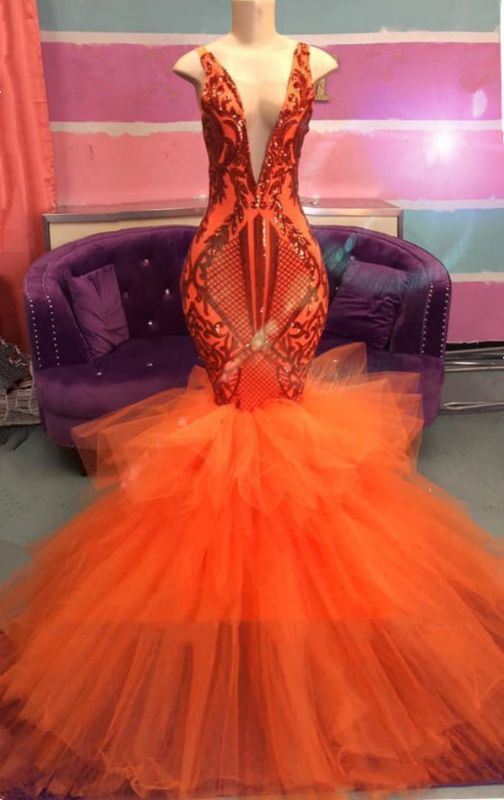 Orange Mermaid Lace Appliques Prom Dresses 2020 | Tulle Ruffles Sexy V-neck Cheap Evening Gowns