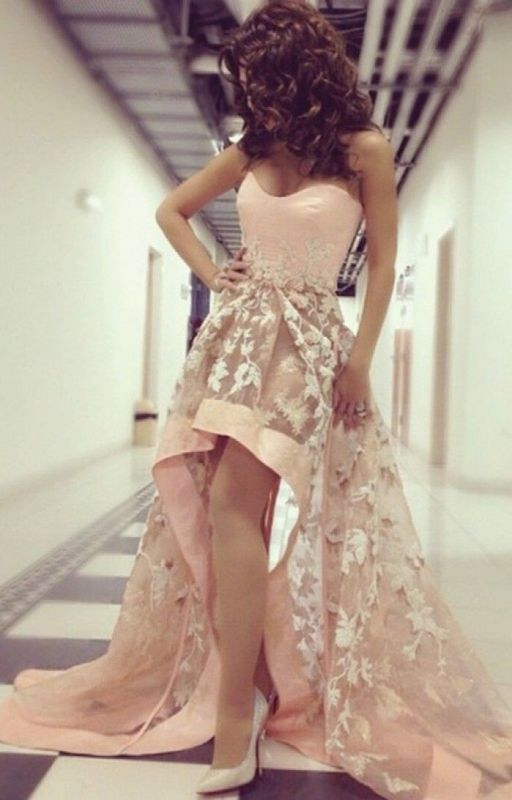 Sweetheart Lace Hi-Lo Prom Dress New Arrival Sleeveless 2020 Party Dress