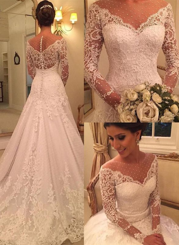 Sexy See Through Long Sleeve Lace Wedding Dresses Cheap | Elegant Appliques A-line Bridal Gowns 2020