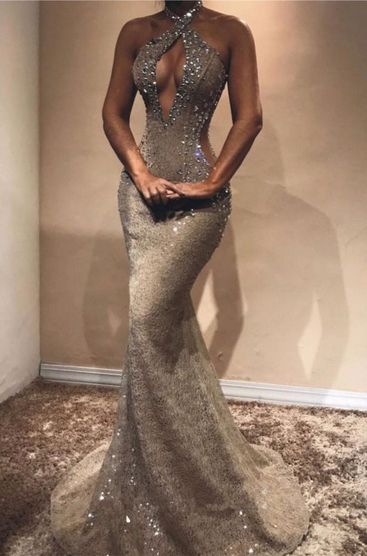 Halter Open Back Sexy Prom Dresses Cheap | Shiny Beads Crystals Illusion Mermaid Evening Gown