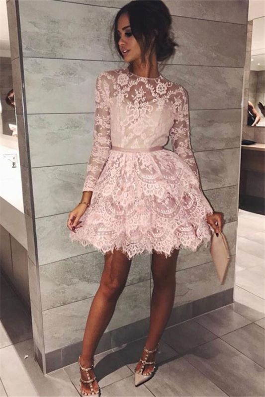 Pink Lace Long Sleeve Homecoming Dresses 2020 Elegant Short Party Dress with Sash