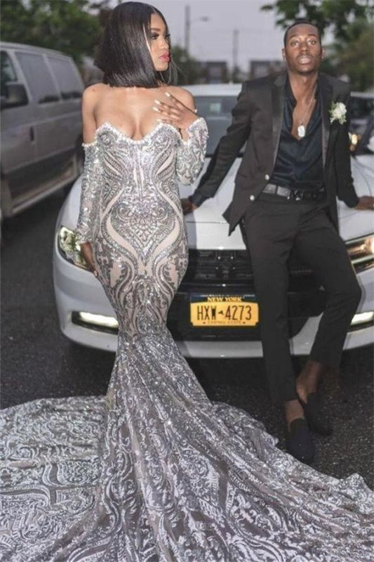 Sexy Off The Shoulder Silver Prom Dresses Cheap 2020 | Long Sleeve Sparkle Lace Mermaid Graduation Dresses