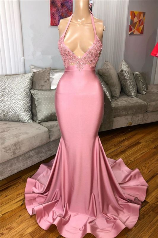 Mermaid Sleeveless Pink Prom dresses | Sexy Beads Appliques Evening Dresses BC4125