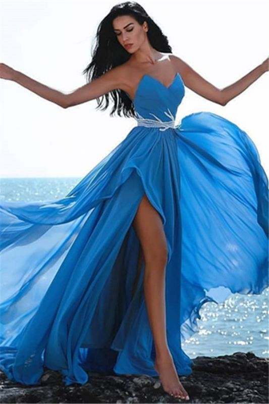 Simple Blue Sweetheart Evening Dresses | 2020 Crystal Side Slit Cheap Prom Dress
