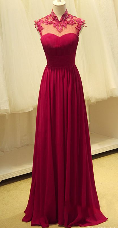 Elegant Ruby Chiffon High Neck Long Evening Dresses Sheer Top Beading Appliques Mother Dresses