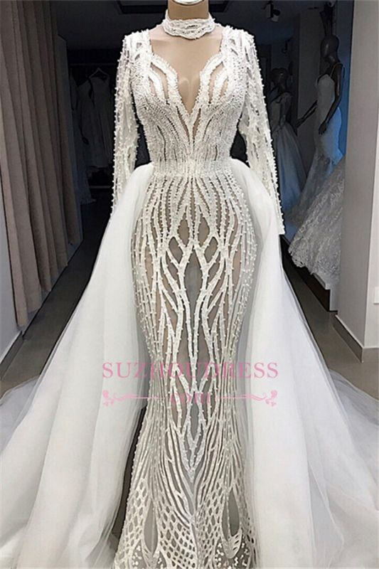 Lace Overskirt High-Neck Charming Long-Sleeves Wedding Dresses