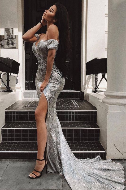 Off The Shoulder Silver Sequins Prom Dresses Cheap | 2020 Sexy Slit Evening Gowns