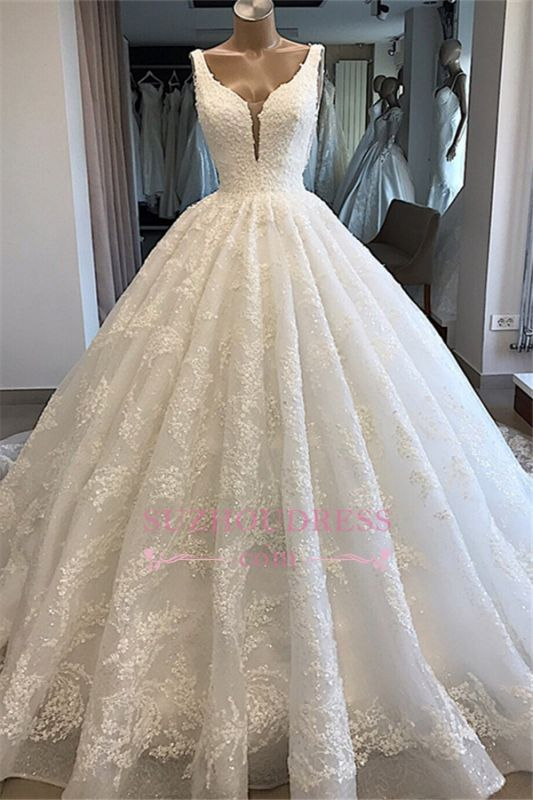 V-neck Lace Ball-Gown Glamorous Appliques Wedding Dresses