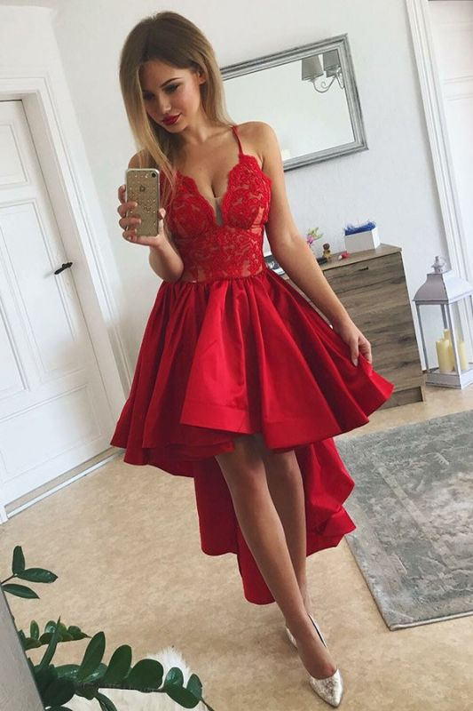 2020 Red Hi-lo Cheap Homecoming Dresses | Spaghetti Straps Lace Short Evening Dresses