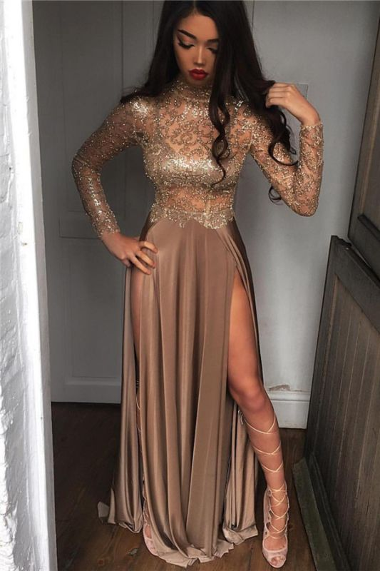 High Neck Champagne Gold Sexy Evening Dress Splits Long Sleeve Illusion Prom Dress 2020 FB0061