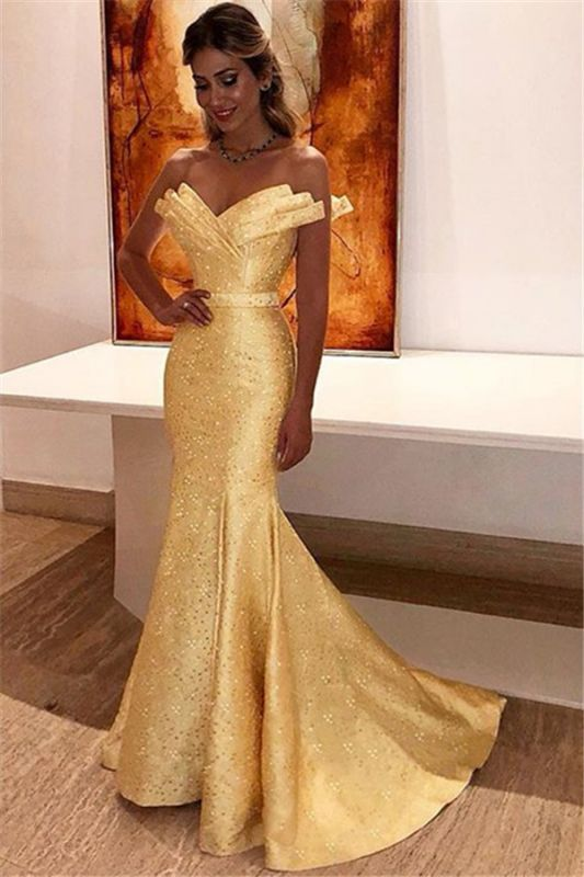 Mermaid 2020 Sparkle Sequins Daffodil Prom Dresses Cheap | Strapless Sleeveless Sexy Evening Gowns