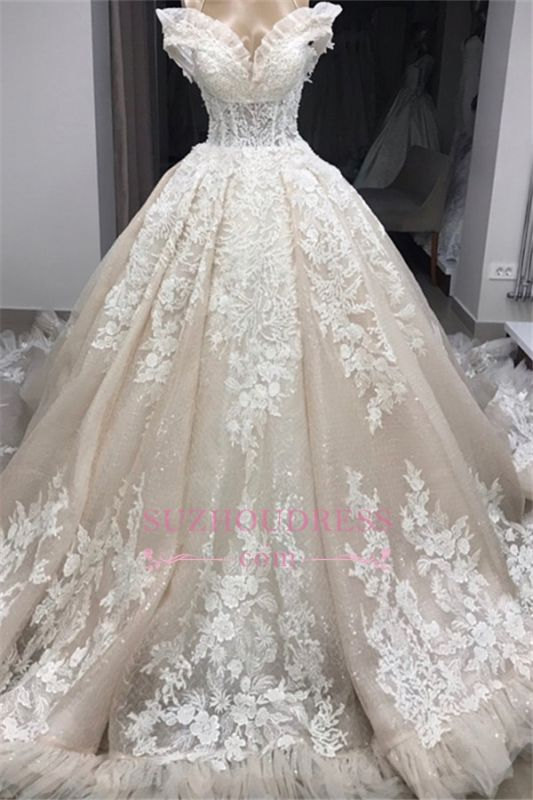 Appliques Off-the-shoulder Gorgeous Ball-Gown Wedding Dresses