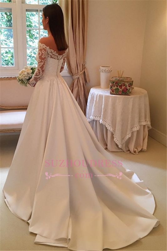 2020 Off-the-Shoulder Long-Sleeves Wedding Dresses | Lace A-Line Bridal Gowns WW0109