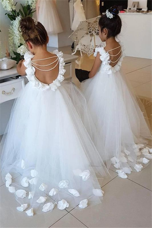 Elegant White Open Back Flower Girl Dresses | Sleeveless Flowers Tulle Pageant Dress 2020