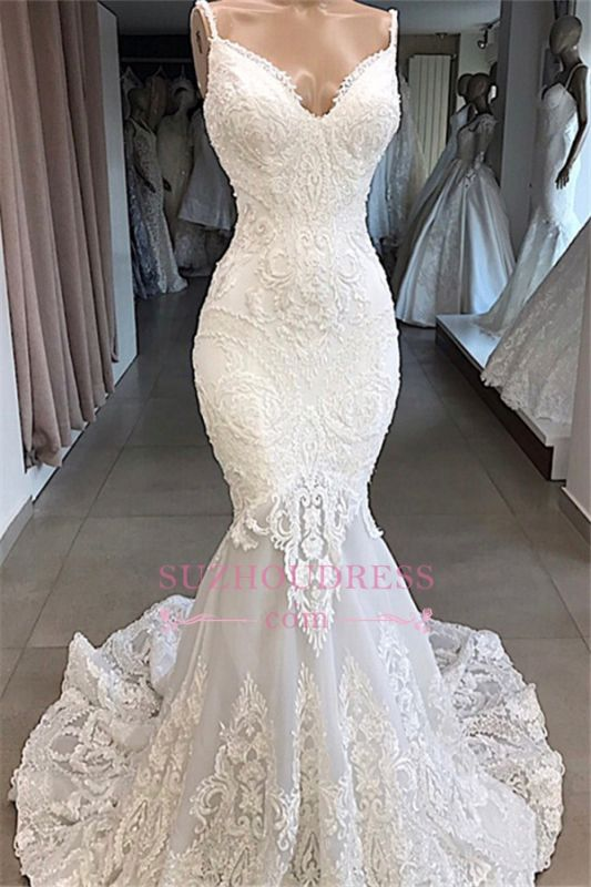 Mermaid Appliques Beautiful Spaghetti-Straps Lace Wedding Dresses