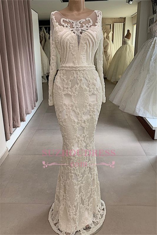 Appliques Long-Sleeves Mermaid Jewel Attractive Wedding Dresses