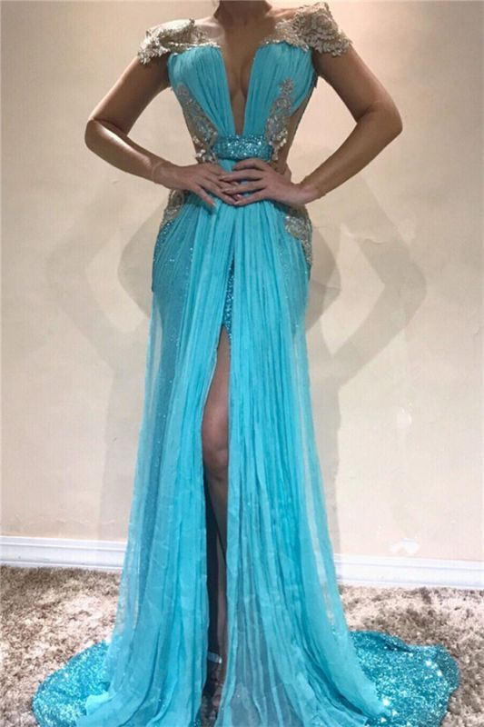 Sexy Backless Shiny Sequins Evening Dresses 2020 | Front Split Appliques Cheap Prom Dresses