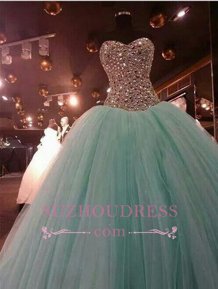 Crystals Green Luxury Mint Ball Gown Evening Dress Sweetheart Quinceanera Dresses 2020
