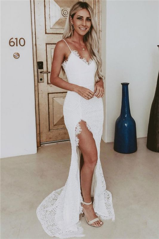 Spaghetti Straps Sexy Slit Lace Evening Dress | Sleeveless Cheap Formal Dresses 2020