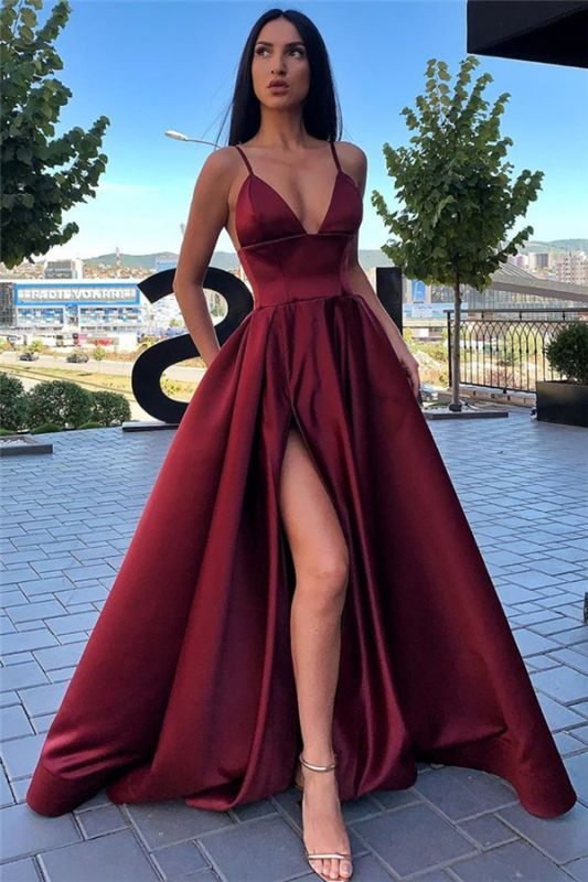 Spaghetti Straps Sexy Evening Gowns with Slit | Sleeveless Open Back Cheap Formal Dresses