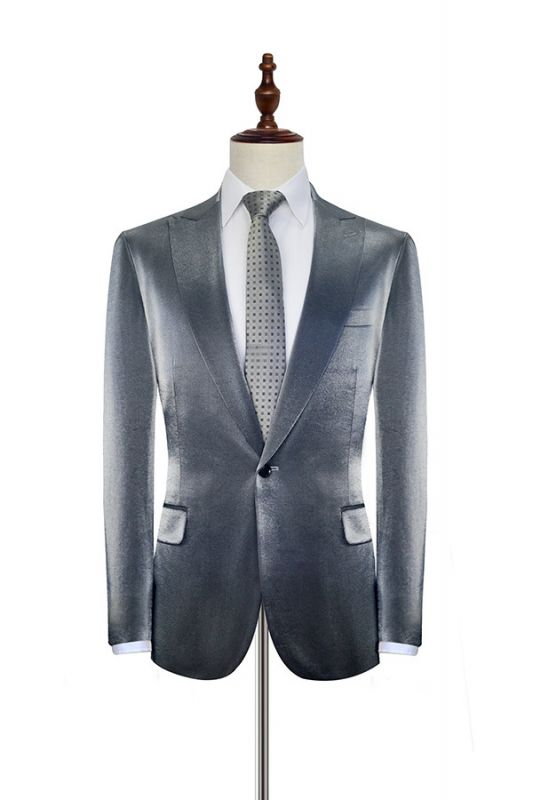 Shiny Silver Grey Custom Mens Suit Cheap | Slim Fit One Button Two Pockets with Flap Suits for Men (Blazer Pants)