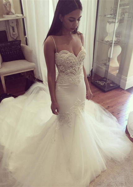 Grgeous Spaghetti-Straps Lace Wedding Dress Mermaid Long Tulle Bridal Gowns
