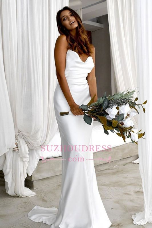 Back Sexy Spaghetti-Straps Open Sheath Wedding Dresses