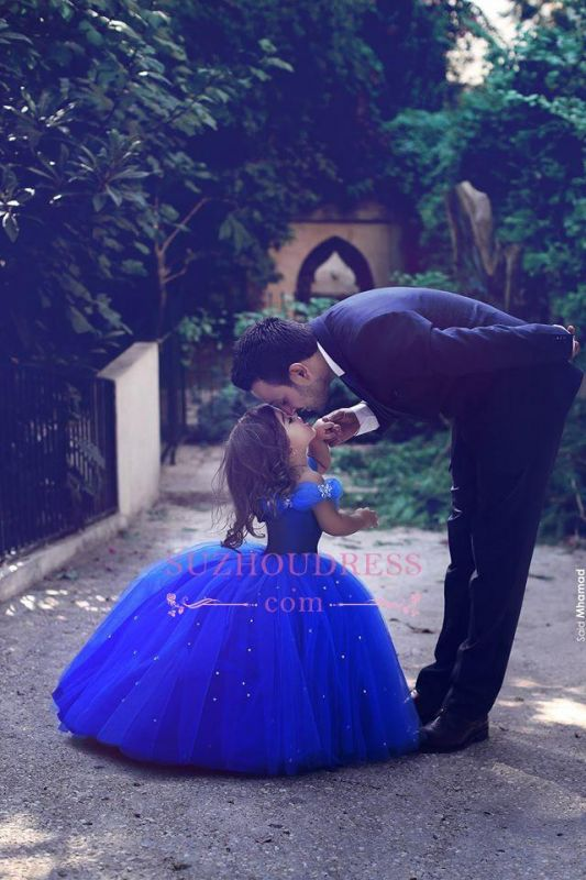 Floor Length Royal Blue Lovely Girls Pageant Dresses 2020 Tulle Off-the-Shoulder Flower Girl Dresss BA3927