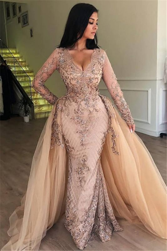 Elegant V-Neck Long Sleeves Tulle Evening Dresses | Sexy Mermaid Appliques Prom Dresses with Detachable Skirt BC0179