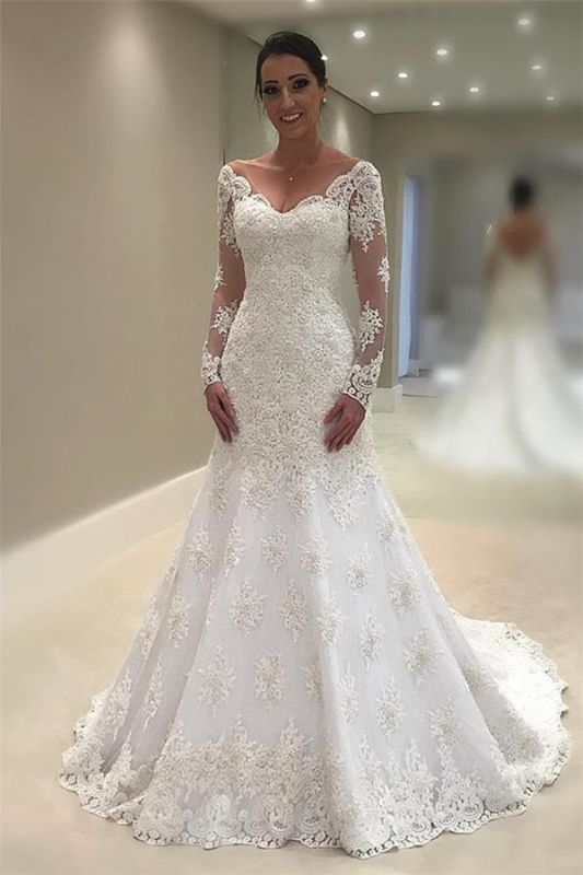 Elegant Tulle Long Sleeves Wedding Dresses 2020 | V-Neck Mermaid Appliques Bridal Gown