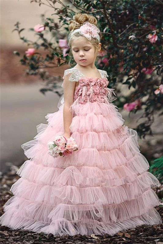 Lovely Pink Tulle Flower Girls Dresses Cheap | Cheap Flowers Cute Girls Pageant Dresses 2020