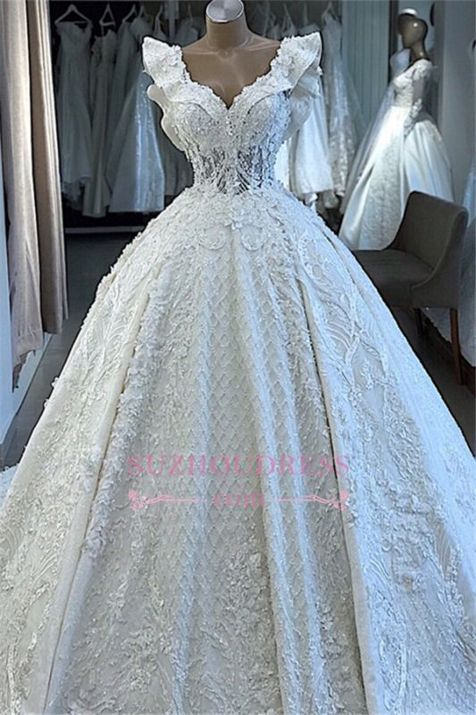 V-neck Wonderful Appliques Ball-Gown Wedding Dresses