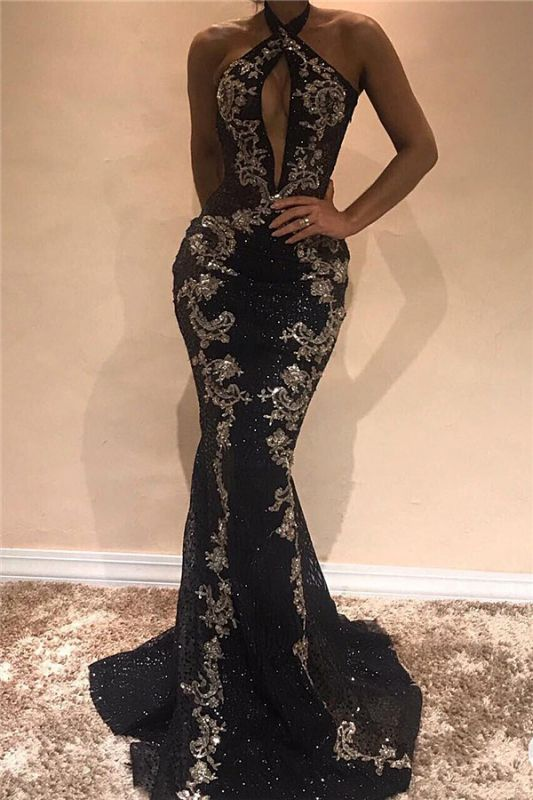 Halter Sleeveless Sexy Evening Dresses 2020 | Black Shiny Keyhole Prom Dress with Lace Appliques