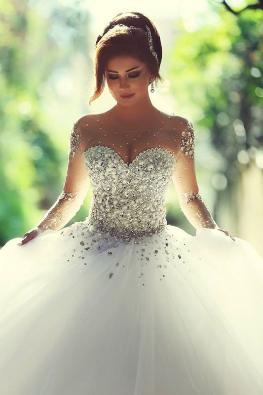 Sheer Sweetheart Crystal Ball Gown Wedding Dresses Lace-up Long Sleeve Tulle Beautiful Wedding Princess Dress MH001