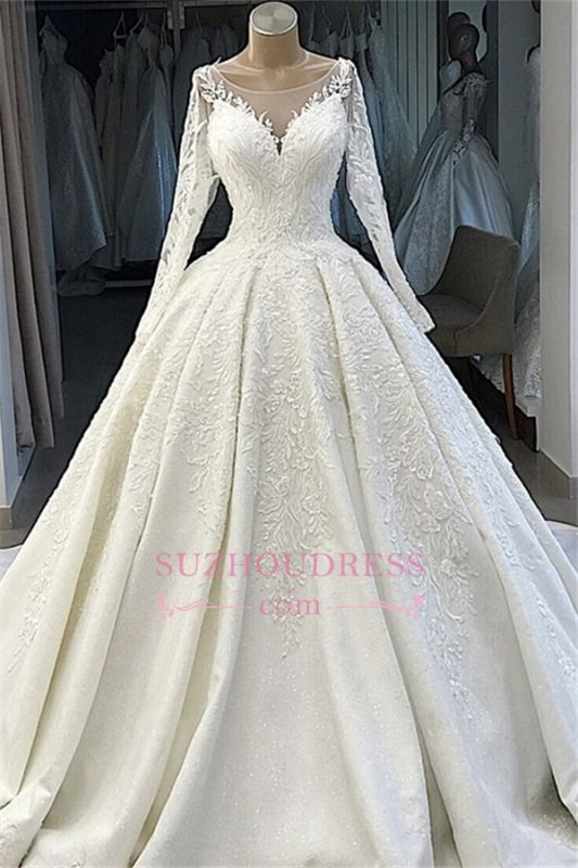 Ball-Gown Long-Sleeves Scoop Alluring Appliques Wedding Dresses