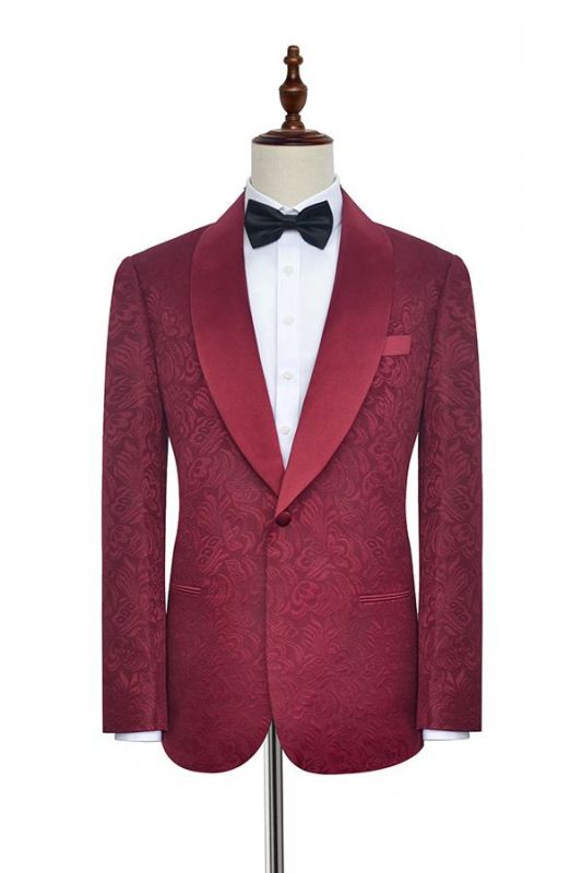 Jacquard Custom Dark Red Suit for Men at Prom | Shawl Lapel  Burgundy Wedding Suits (Blazer Pants)