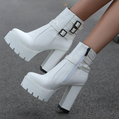 Daily Chunky Heel Zipper Round Toe Buckle Boots