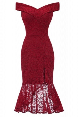 Sexy Off-the-Shoulder Mermaid Lace Burgundy Dress On Sale_5