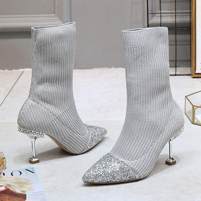 Daily Pointed Toe Cone Heel Knitted Fabric Boots_2