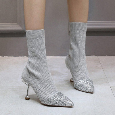 Daily Pointed Toe Cone Heel Knitted Fabric Boots_4