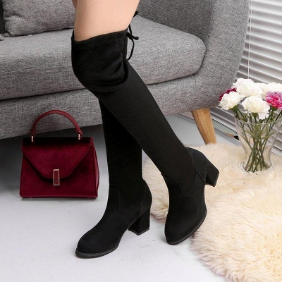 Black Suede Daily Chunky Heel Round Toe Boots_3