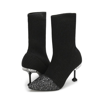 Daily Pointed Toe Cone Heel Knitted Fabric Boots_1