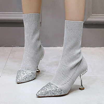 Daily Pointed Toe Cone Heel Knitted Fabric Boots_10