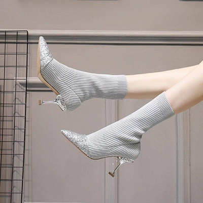 Daily Pointed Toe Cone Heel Knitted Fabric Boots_6
